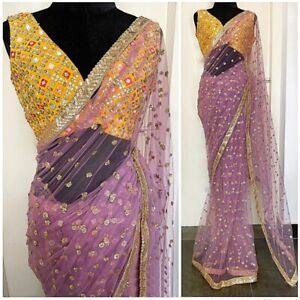 Net Sequins Saree Fancy Blouse Embroidery Bollywood Style Designer Ethnic Sari