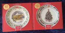 Two Lenox 2014 Annual Holiday Collector Plates Carousel & Finland Christmas Tree
