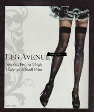 Sexy Lycra Fishnet Hold Up Stockings With Skull Prints - Gothic Punk Halloween
