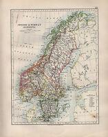 1904 Antik Landkarte ~ Schweden & Norwegen Skandinavien ~ Stockholm Gothland