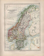 1904 ANTIQUE MAP ~ SWEDEN & NORWAY SCANDINAVIA ~ STOCKHOLM GOTHLAND CHRISTIANIA