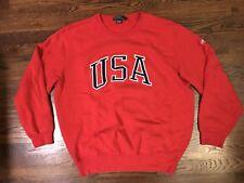 Polo Ralph Lauren Men's Vintage Crewneck Sweatshirt USA Spellout RED Large L