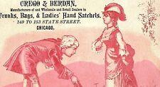 1880's Crego & Berdan Trunks, Bags & Ladies Satchels Victorian Trade Card P123