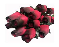 Aariel's Attic Realistic Wooden Red Roses Artificial Beautiful Black Tips 24 Pc