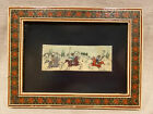 Hand Painted Persian Polo Scene Kari Inlay Frame Vintage Art, Free Shipping (a)