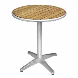 Bolero Round Table with Ash Wood Top and Aluminium Base - 720X600mm