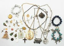 Lot Of 35 Vintage Fashion Jewelry Various Religious Christian Other 10434
