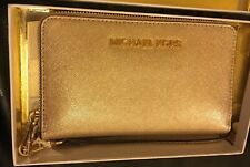 Michael Kors Travel Wallet Pale Gold Saffiano Leather Brand New in Box