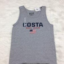 NEW Costa Del Mar Size Small S  Logo Flag Tank Top Shirt Gray 100% Cotton Summer