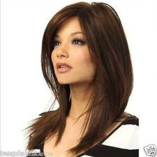Fashion wig New  sexy Women's Medium long Dark Brown Straight Natural Hair wigs