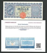 Italy Lire 1.000 FDS ass/gem UNC TURRITA Periziata RRRRRR 6 Decr.10-12-1944