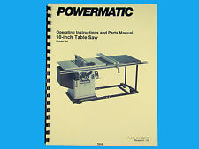 """Powermatic  Model 66  10"""" Table Saw Instruction & Parts List Manual *255"""