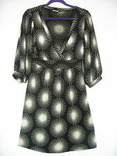 TIBI Womens Black White Silk Wrap Top Sun Star Polka Dot Career Cocktail Dress M