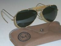 58[]14mm VINTAGE B&L RAY BAN GOLD PLATED OUTDOORSMAN AVIATOR SUNGLASSES w/CASE