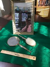Make Up Mirror Hand Held Mirror Hair Brush Very Old Nice Condition used