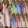 UK Womens Fitted Floral Swing Maxi Sundress CAMI Ladies Casual Long Slip Dress