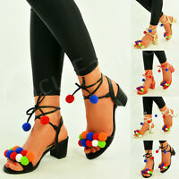 Womens Ladies Pom Pom Sandals Mid Block Heel Peep Toe Party Shoes Size Uk 3-8