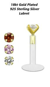 Labret Tragus Bar Piercing push in 18k gold plated 925 silver top