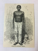 1885 magazine engraving ~ TATTOOED INDIAN OF SOUTHERN BRAZIL