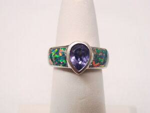Amethyst & Created Opal Inlay Ring Sterling Silver Sz 6 signed AK