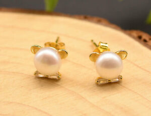 B15 Earrings Cat With Freshwater Pearl And Bow Sterling Silver 925 Gold Plated