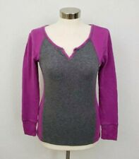Eddie Bauer Outdoor Womens Purple Thermal Fitted 3/4 Shirt Top Sweater Small