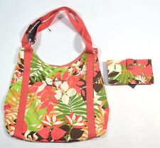 Hurley LEILANI Melon Green Brown Yellow Floral Shoulder Bag Tote Purse & Wallet