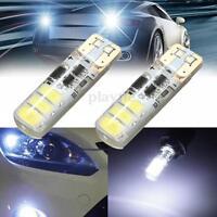 2x White T10 W5W 1.25W 5630 SMD 6 LED Canbus Error Free Flash Light Bulb DC 12V