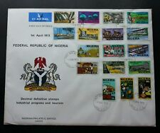 Nigeria Definitive Industrial & Tourism 1973 Palm Oil Textile Hospital FDC *Rare