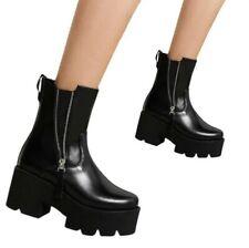 Women's Non-Slip Biker Block Heel Round Toe Zip Up Ankle Boots Shoes 41 42 43 L