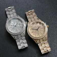 Hip Hop 14k Gold Iced out Luxury Crunch Time Lab Diamond Metal Band Round Watch