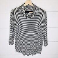 ANTHROPOLOGIE W5 Striped Cowl Neck Top Black & White Striped Women's MEDIUM EUC