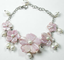 Statement Pink MOP Flower Bracelet  White Pearls Sterling Silver Wedding Bride