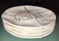 """4 Rae & Dunn Salad Plate Thanksgiving GOBBLE White Melmac Melamine Magenta 8"""" LL"""