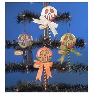 "Set/4 5.25"" Bethany Lowe Poison Treats Candy Vntg Style Halloween Ornament Decor"