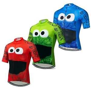 Men's Short Sleeve Cycling Clothing Top Funny Bike Cycle MTB Jersey Shirts S-5XL