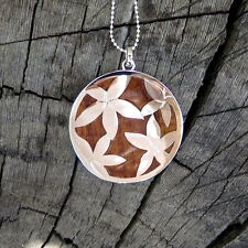 Koa Wood Hawaiian Jewelry Flower Plumeria Silver Rhodium Brass Pendant BRP1018