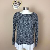 CLUB MONACO Womans S Black White Knit Ruffle Lined Long Sleeve Sweater