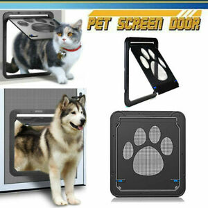 Pet Screen Door Sliding Screen Dog Cat Door with Magnetic Flap Door Lockable