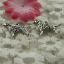 free ship 135 pieces Antique silver dog charms 24x14mm #4060