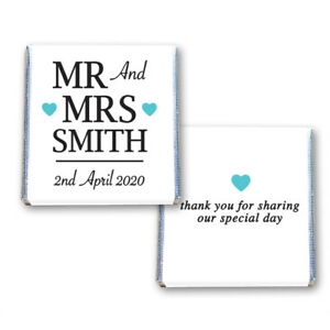 100 PERSONALISED WEDDING CHOCOLATE SQUARES FAVOURS TURQUOISE HEARTS - MR & MRS