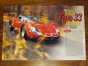 ALFA ROMEO TIPO 33 STRADALE MAGAZINE ARTICLE ROAD & TRACK ALFA UNDER GLASS