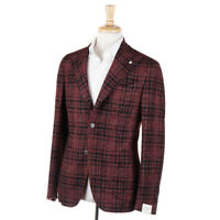 NWT $895 L.B.M. 1911 Raspberry Red-Black Check Soft Wool Sport Coat Slim 40 R