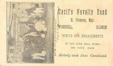 CECIL'S NOVELTY BAND Woodhull, IL Jazz Music Franseen 1900 Vintage Postal Card