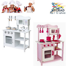 Large Kids Wooden Kitchen Pretend Role Toy Play Set Children Cooking Cooker Pan