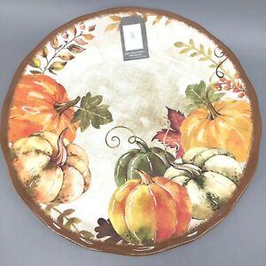 4 Rachel Ashwell Fall Pumpkin Melamine Dinner Plate Set Harvest Thanksgiving NEW
