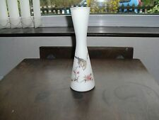 VINTAGE OPAQUE WHITE GLASS VASE DECORATED WITH BIRD & FLOWERS, GILDED RIM