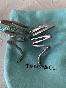 Tiffany & Co. Sterling Silver Paloma Picasso Earrings Zigzag Scribble