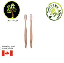 2X Bamboo Toothbrush Wood soft bristles Eco friendly White Natural environmental