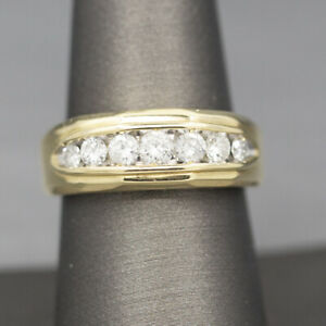 Classic Diamond Seven Stone Wedding Band Ring in 14k Yellow Gold For Men or Wome